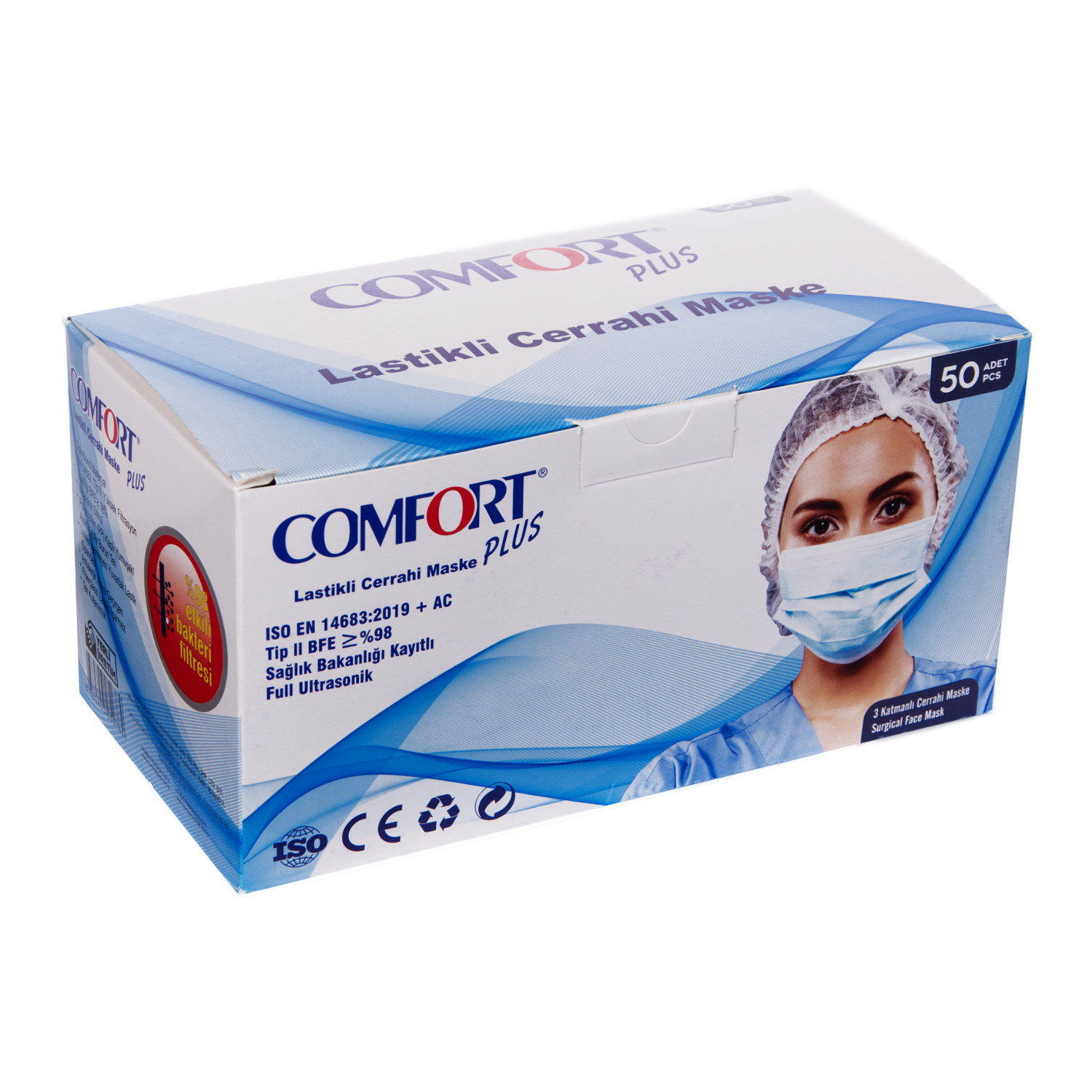 Comfort Plus 3 Katlı Cerrahi Maske Full Ultrasonic