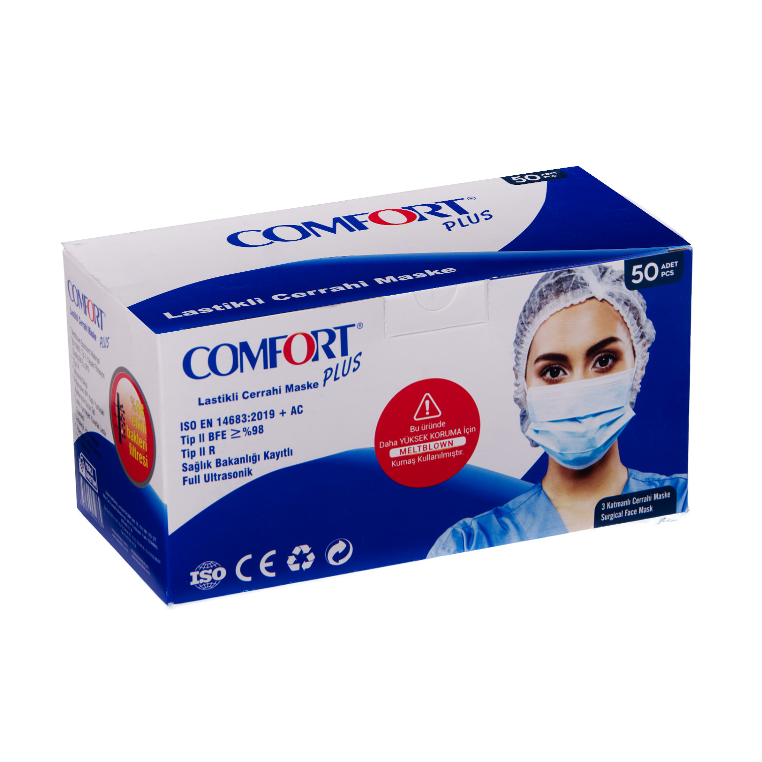 Comfort Plus 3 Katlı Cerrahi Maske Full Ultrasonic Meltblown Filitreli